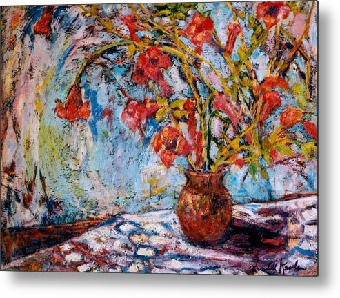 Trumpet Flowers Metal Print featuring the painting Orange Trumpet Flowers by Kendall Kessler