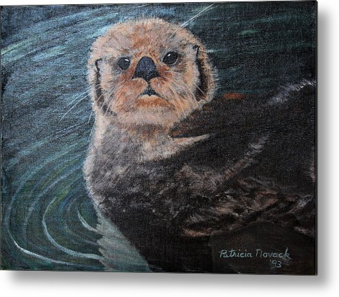 Otters Metal Print featuring the painting Ottertude by Patricia Novack