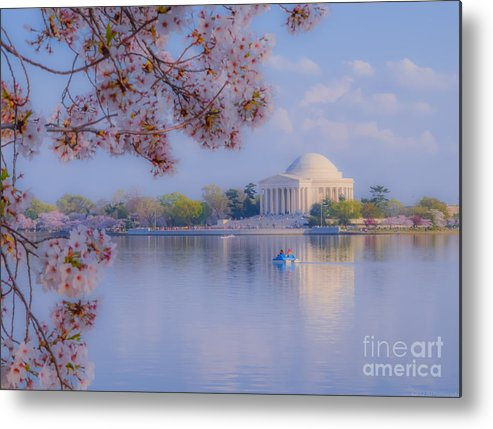 2012 Centennial Celebration Metal Print featuring the photograph Paddling Past The Blossoms On The Basin by Jeff at JSJ Photography