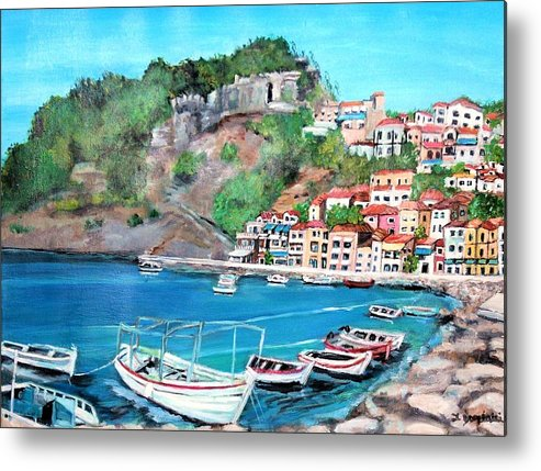 Seascape Metal Print featuring the painting Parga In Greece by Teresa Dominici