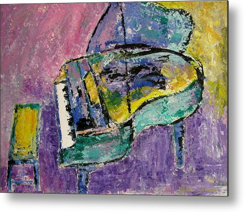 Impressionist Metal Print featuring the painting Piano Green by Anita Burgermeister