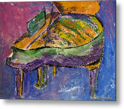 Impressionist Metal Print featuring the painting Piano Purple by Anita Burgermeister