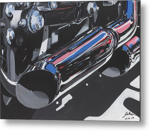 Harley Davidson Motorcycles Metal Print featuring the painting Pipe Dreams by John Westerhold
