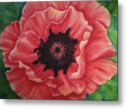 Poppy Metal Print featuring the painting Poppy by Conni Reinecke