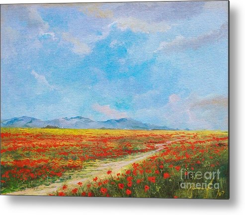 Poppy Field Metal Print featuring the painting Poppy Field by Sinisa Saratlic