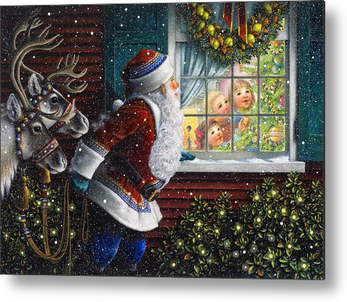 Santa Claus Metal Print featuring the painting Santa's At The Window by Lynn Bywaters