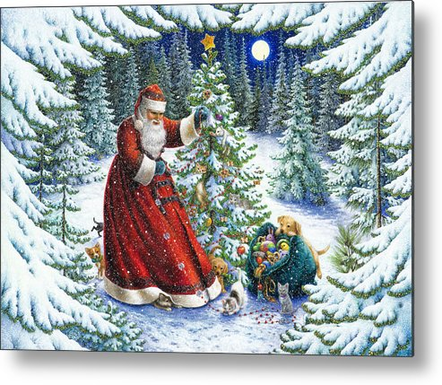 Santa Claus Metal Print featuring the painting Santa's Little Helpers by Lynn Bywaters