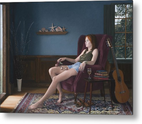Female Metal Print featuring the painting Seashells And Guitar by Charles Pompilius