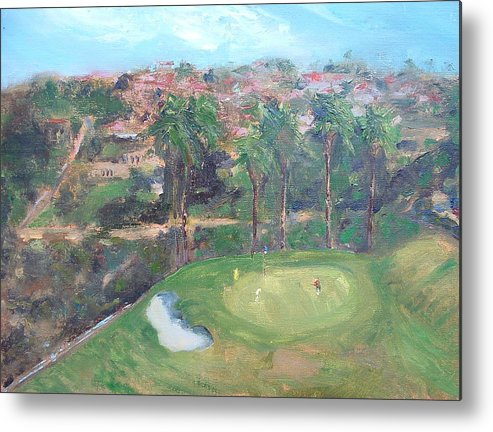 Golf San Clemente- 15th Hole -plain-air Metal Print featuring the painting Signature Hole by Bryan Alexander