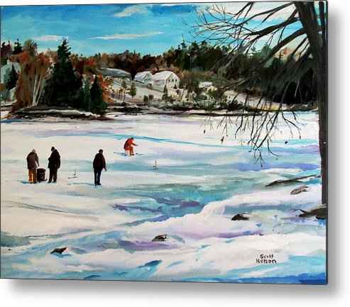 Millbury Metal Print featuring the painting Singeltary Lake Ice Fishing by Scott Nelson