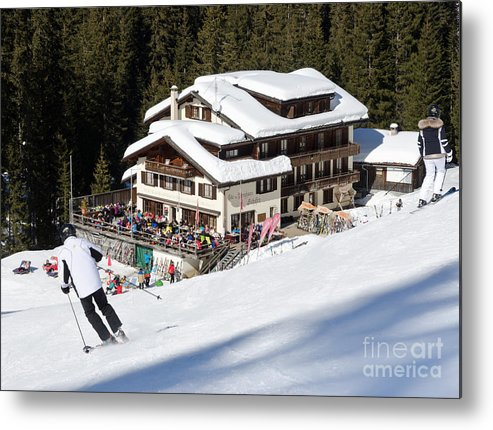 Mountains Metal Print featuring the photograph Skihaus Schifer Skier Davos Parsenn Klosters by Andy Smy