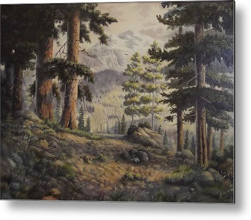 Slumgullian Mountain Colo. Metal Print featuring the painting Slumgullian Pass by Wanda Dansereau