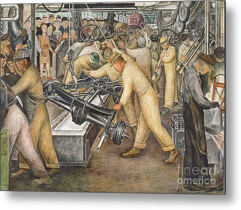 Machinery Metal Print featuring the painting South Wall Of A Mural Depicting Detroit Industry by Diego Rivera