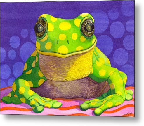 Frog Metal Print featuring the painting Spotted Frog by Catherine G McElroy