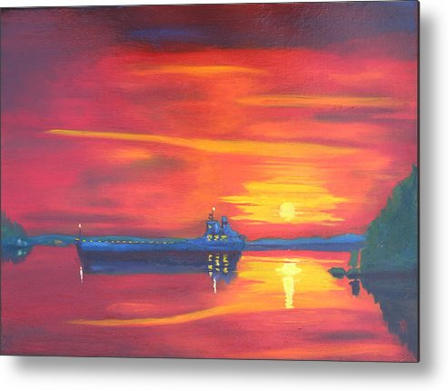 Sunrise Metal Print featuring the painting St Lawrence River December Sunrise by Robert P Hedden