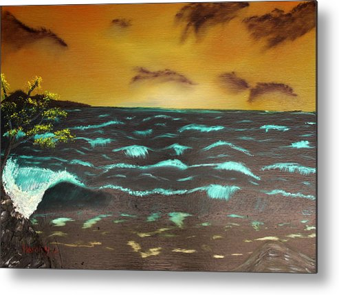 Ocean Metal Print featuring the painting Stormy Seas by Henry Parker