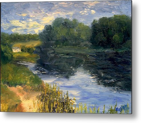 Landscape Metal Print featuring the painting Summer At Jackson Lake by Gail Kirtz