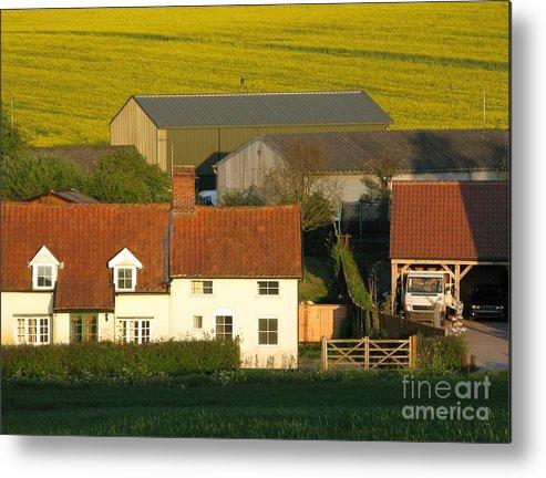 Farm Metal Print featuring the photograph Sunlit Farm by Ann Horn
