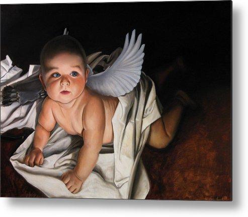 Angel Paintings Metal Print featuring the painting The Awakening Of Eros by Eric Armusik