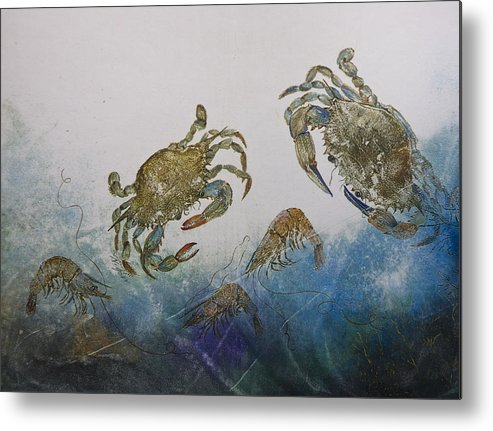 Crab Metal Print featuring the mixed media The Crabby Couple by Nancy Gorr