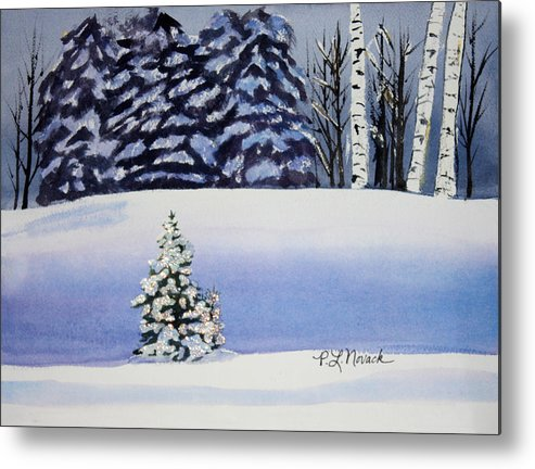 Christmas Metal Print featuring the painting The Lone Christmas Tree by Patricia Novack