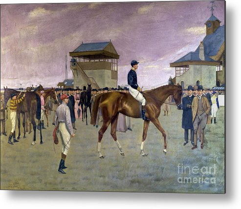 Racehorse Metal Print featuring the painting The Owner S Enclosure Newmarket by Isaac Cullen