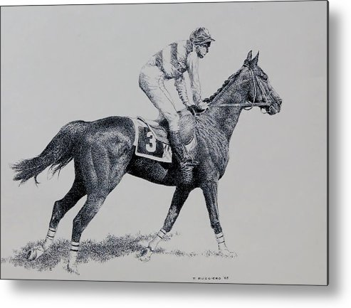 Racehorse Horse Horseracing Thorobreds Jockey Metal Print featuring the drawing To The Gate by Tony Ruggiero