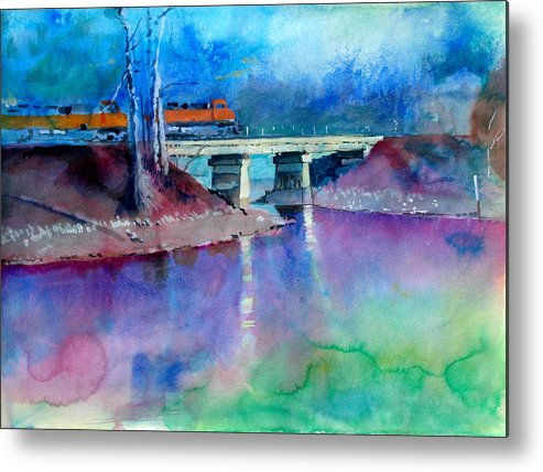 Train Metal Print featuring the painting Train Over Sand Creek by Robert Bissett