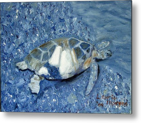 Turtle Metal Print featuring the painting Turtle On Black Sand Beach by Laurie Morgan