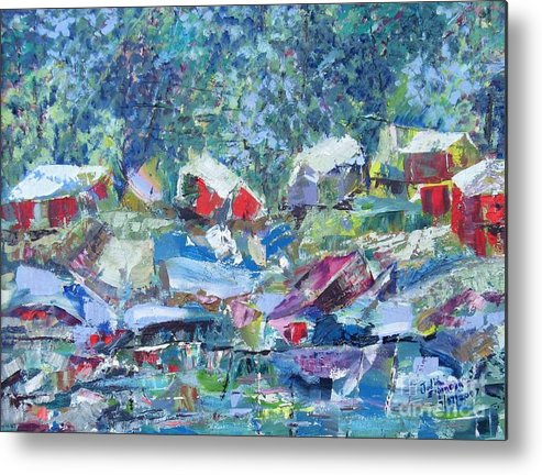 Landscape Metal Print featuring the painting Two Canoes - Sold by Judith Espinoza