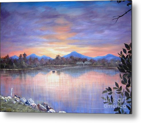 River Metal Print featuring the painting Upriver by Rita Palm