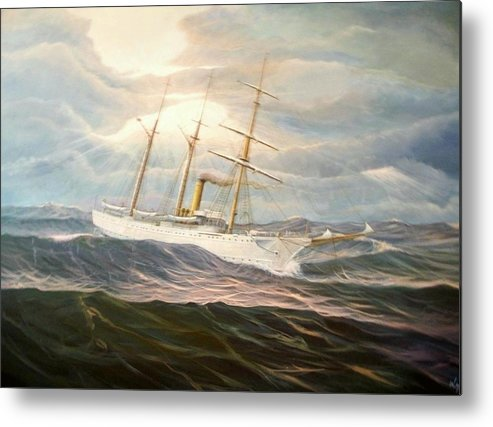 Tall Ships Metal Print featuring the painting Uscgc Alexander Hamilton by William H RaVell III