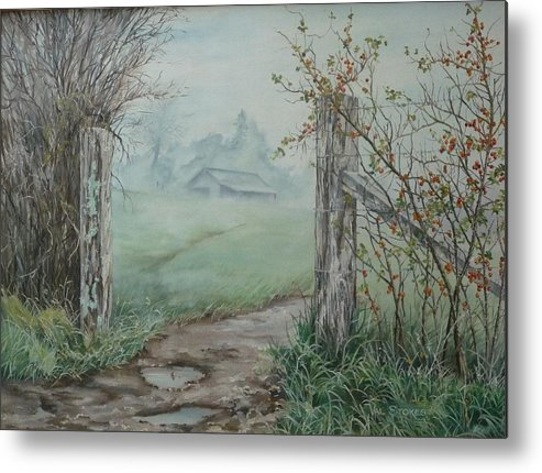 Landscape Metal Print featuring the painting Waikato Fog. by Val Stokes