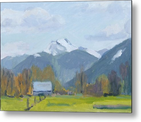 Metal Print featuring the painting Whitehorse Mountain East Arlington by Raymond Kaler