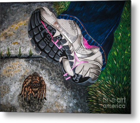 Sneaker. Spider. Blue Jeans. Grass. Sidewalk. Outdoors. Nature. Funny. Fine Art. Unique Design. Unusual. Metal Print featuring the painting Whoops by Dawn Siegler