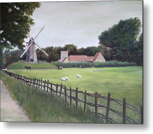 Farm Metal Print featuring the painting Windmill On Farm by Jennifer Lycke