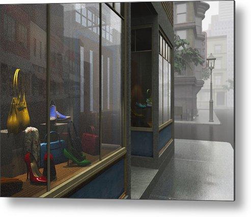 Gray Metal Print featuring the digital art Window Shopping by Cynthia Decker