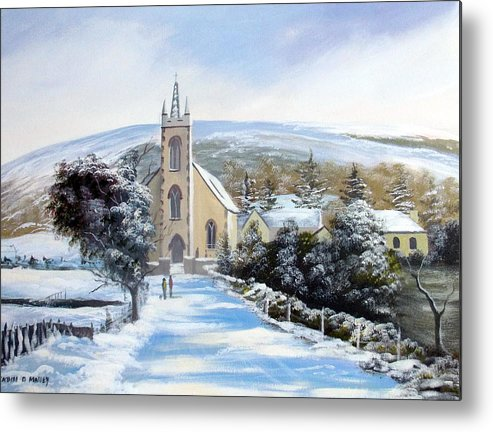 Metal Print featuring the painting Winter Loughguile Ireland by Cathal O malley