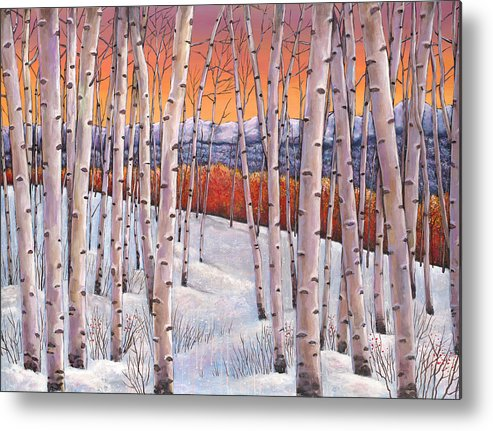Autumn Aspen Metal Print featuring the painting Winter's Dream by Johnathan Harris