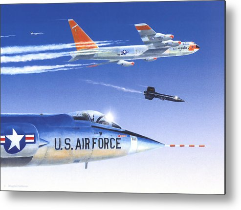 Nasa Metal Print featuring the painting X-15 Launch by Douglas Castleman