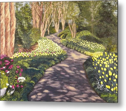 Garden Metal Print featuring the painting Yellow Tulip Garden Path by Gwendolyn Hope-Battley