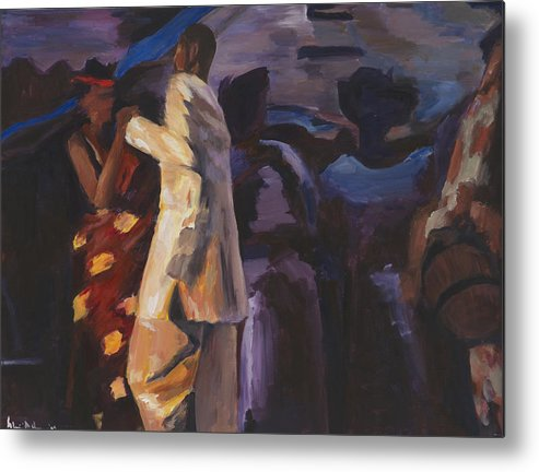 Midnight Dance Metal Print featuring the painting Midnight Tradition by Shiri Achu
