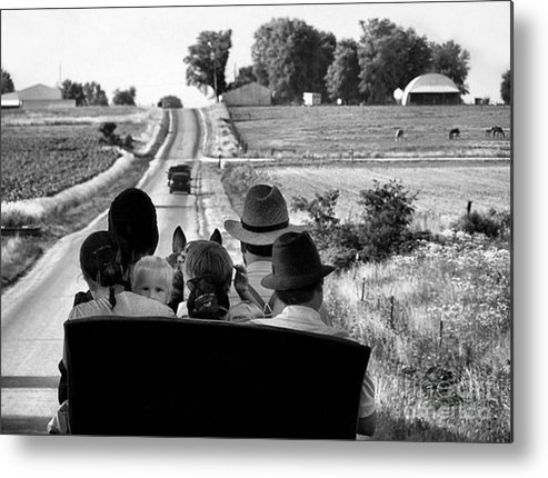 Amish Metal Print featuring the photograph Amish Family Outing by Julie Dant