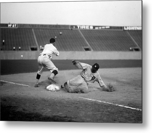 1920s Metal Print featuring the photograph Baseball. Ty Cobb Safe At Third by Everett