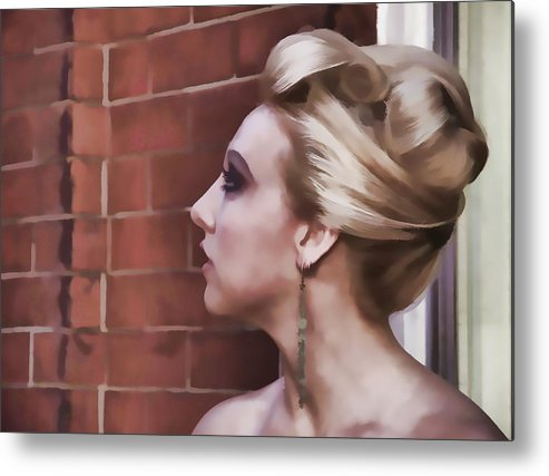 Woman Lady Beauty Classic Portrait Updo Blonde Metal Print featuring the photograph Dangling Earring by Alice Gipson