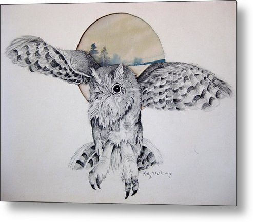 Owl Metal Print featuring the mixed media Distant Trees by Kathrine McMurray