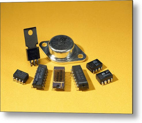 Component Metal Print featuring the photograph Electronic Circuit Board Components by Andrew Lambert Photography