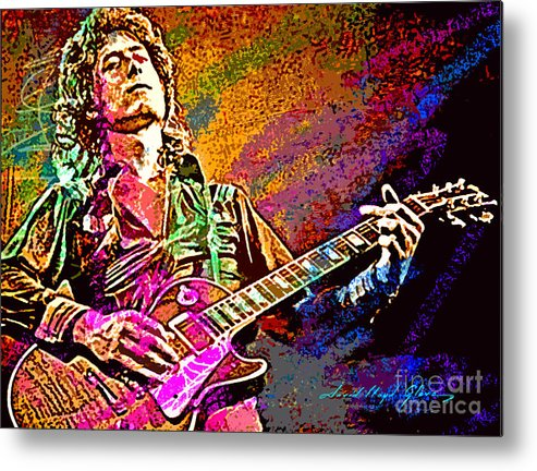 Jimmy Page Metal Print featuring the painting Jimmy Page Les Paul Gibson by David Lloyd Glover