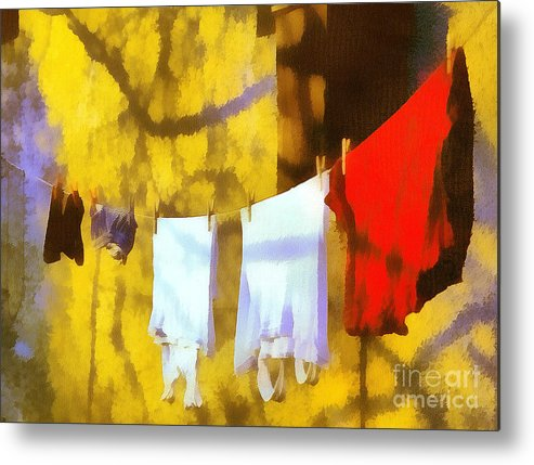 Odon Metal Print featuring the painting Laid Out To Dry by Odon Czintos