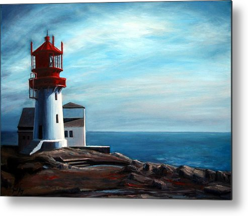 Lighthouse Metal Print featuring the painting Lindesnes Lighthouse by Janet King